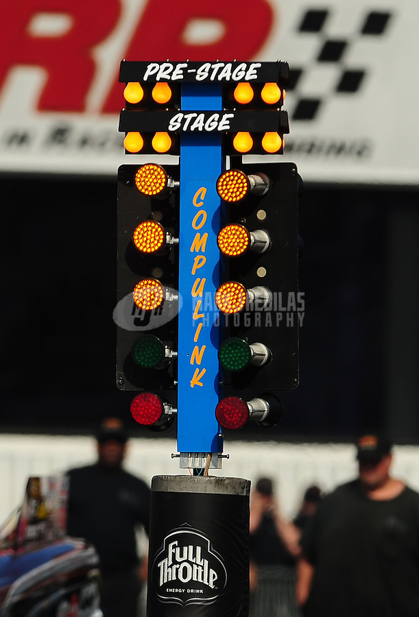 Nov 11, 2010; Pomona, CA, USA; Detailed view of the NHRA starting light system known as the christmas tree during qualifying for the Auto Club Finals at Auto Club Raceway at Pomona. Mandatory Credit: Mark J. Rebilas-
