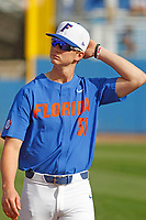 University of Florida Gators pitcher Brady Singer (51) before a game against the Siena Saints at Alfred A. McKethan Stadium in Gainesville, Florida on February 17, 2018. Florida defeated Siena 10-2. (Robert Gurganus/Four Seam Images)