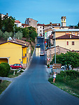 A summer evening drive into the Tuscany village of Vinci, Italy