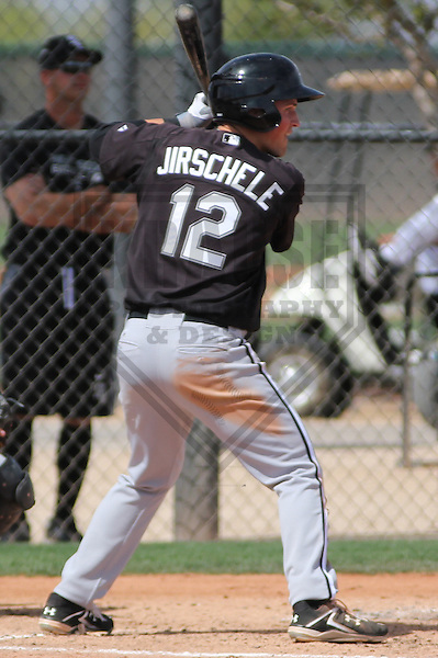 GLENDALE - March 2013: Justin Jirschele (12)  of the Chicago White Sox during a Spring Training intrasquad game on March 21, 2013 at Camelback Ranch in Glendale, Arizona.  (Photo by Brad Krause). .