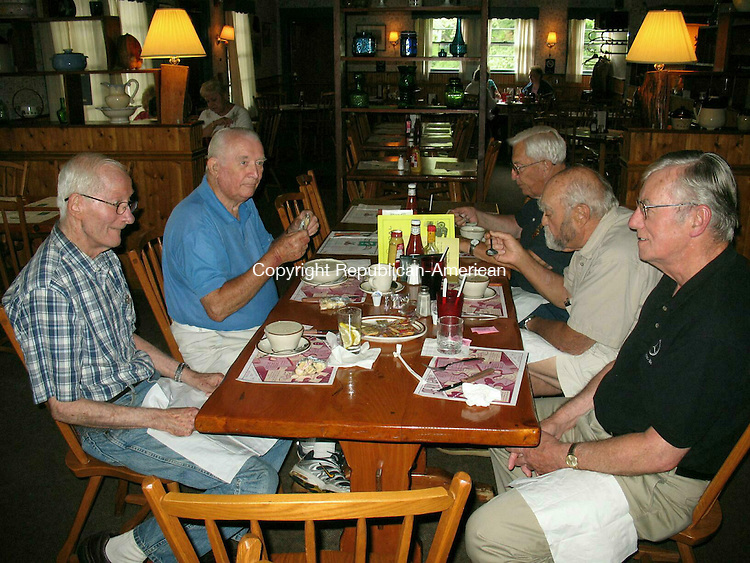 WOODBURY, CT - 21 August 2009 - 082109RH01 - A group of residents enjoy their regular Friday lunch at the Charcoal Chef, a tradition dating back decades. Clockwise from left: Robert Keating, Bud Morgan, Bud Phillips, Dick Hayward, Paul Fizgerald.