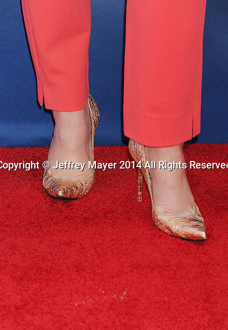 BURBANK, CA- MARCH 22: Actress Christina Hendricks (shoe detail) at the premiere of DisneyToon Studios' 'The Pirate Fairy' at Walt Disney Studios on March 22, 2014 in Burbank, California.
