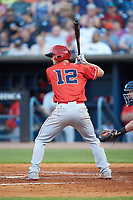 Nick Senzel (12) of the Louisville Bats at bat against the Toledo Mud Hens at Fifth Third Field on June 16, 2018 in Toledo, Ohio. The Mud Hens defeated the Bats 7-4.  (Brian Westerholt/Four Seam Images)