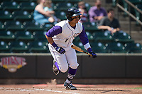 Ronald Bueno (7) of the Winston-Salem Dash starts down the first base line during the game against the Buies Creek Astros at BB&T Ballpark on April 16, 2017 in Winston-Salem, North Carolina.  The Dash defeated the Astros 6-2.  (Brian Westerholt/Four Seam Images)