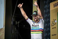 World Champion Peter Sagan (SVK/Bora Hansgrohe) ready to receive yet another green jersey.<br /> <br /> Stage 4: La Baule &gt; Sarzeau (192km)<br /> <br /> 105th Tour de France 2018<br /> &copy;kramon