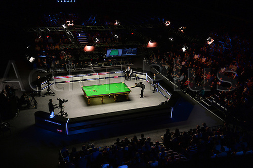 21.02.2016. Cardiff Arena, Cardiff, Wales. Bet Victor Welsh Open Snooker. Ronnie O'Sullivan versus Neil Robertson. The final of the Welsh Open at the Motorpoint Arena in Cardiff.