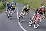 Bauke Mollema (NED) Trek-Segafredo leads Lucas Hamilton (AUS) Mitchelton-Scott and Race leader Max Schachmann (GER) Bora-Hansgrohe in the next group on the road near the end of Stage 5 of the Tour of the Basque Country 2019 running 149.8km from Arrigorriaga to Arrate, Spain. 12th April 2019.<br /> Picture: Colin Flockton | Cyclefile<br /> <br /> <br /> All photos usage must carry mandatory copyright credit (&copy; Cyclefile | Colin Flockton)