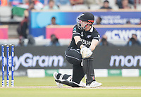 Henry Nicholls (New Zealand) sweeps and collects two during India vs New Zealand, ICC World Cup Semi-Final Cricket at Old Trafford on 9th July 2019
