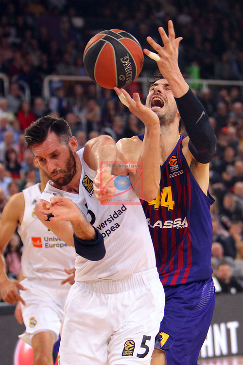 Turkish Airlines Euroleague 2018/2019. <br /> Regular Season-Round 24.<br /> FC Barcelona Lassa vs R. Madrid: 77-70. <br /> Rudy Fernandez vs Ante Tomic.
