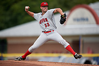 Auburn Doubledays starting pitcher Reid Schaller (33) delivers a pitch during a game against the Batavia Muckdogs on September 2, 2018 at Dwyer Stadium in Batavia, New York.  Batavia defeated Auburn 5-4.  (Mike Janes/Four Seam Images)