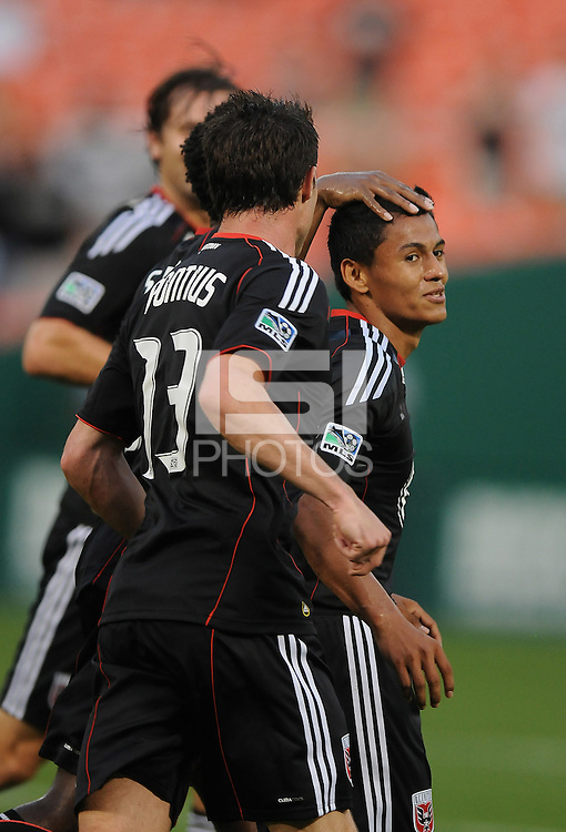 DC United mifielder Andy Najar (14) celebrates his goal with team mates in the 26th minute of the game.  DC United defeated Chivas USA 3-2 at RFK Stadium, Saturday  May 29, 2010.
