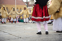Hungarian Sokácok dancers on the Tuesday procession of the Busojaras Spring  festival 2010 Mohacs Hungary - Stock photos