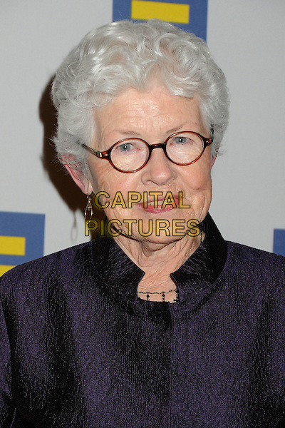 BETTY DEGENERES .2011 Human Rights Campaign Los Angeles Gala held at the Ritz-Carlton/JW Marriot LA Live, Los Angeles, California, USA, .12th March 2011..portrait headshot glasses purple Ellen's mum mom mother .CAP/ADM/BP.©Byron Purvis/AdMedia/Capital Pictures.