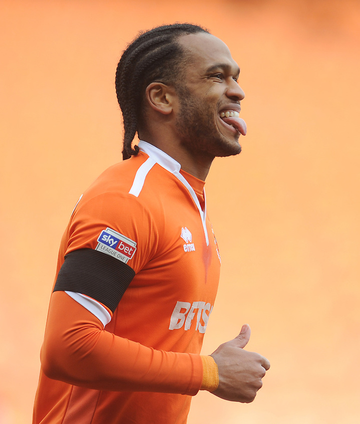 Blackpool's Nathan Delfouneso<br /> <br /> Photographer Kevin Barnes/CameraSport<br /> <br /> The EFL Sky Bet League One - Blackpool v Walsall - Saturday 9th February 2019 - Bloomfield Road - Blackpool<br /> <br /> World Copyright © 2019 CameraSport. All rights reserved. 43 Linden Ave. Countesthorpe. Leicester. England. LE8 5PG - Tel: +44 (0) 116 277 4147 - admin@camerasport.com - www.camerasport.com