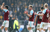 Burnley's Jack Cork (left) and Charlie Taylor applaud the fans at the final whistle<br /> <br /> Photographer Rich Linley/CameraSport<br /> <br /> The Premier League - Burnley v Wolverhampton Wanderers - Saturday 30th March 2019 - Turf Moor - Burnley<br /> <br /> World Copyright © 2019 CameraSport. All rights reserved. 43 Linden Ave. Countesthorpe. Leicester. England. LE8 5PG - Tel: +44 (0) 116 277 4147 - admin@camerasport.com - www.camerasport.com