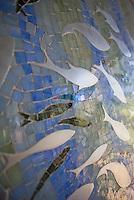 Closeup detail of custom jewel glass mosaic panel &quot;Ellen's Fish&quot;<br /> -Ellen McCaleb for New Ravenna Mosaics