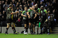 Joe Marler of Harlequins celebrates scoring a try with team mates during the Aviva Premiership match between Harlequins and Saracens at Twickenham on Tuesday 27 December 2011 (Photo by Rob Munro)
