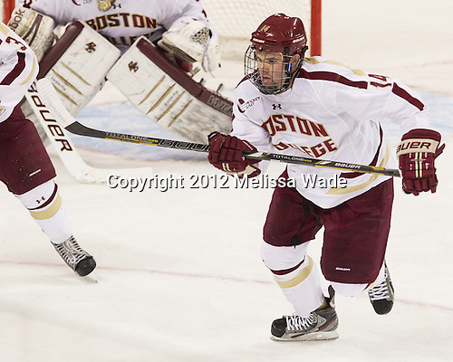 Brooks Dyroff (BC - 14) - The Boston College Eagles defeated the visiting Boston University Terriers 5-2 on Saturday, December 1, 2012, at Kelley Rink in Conte Forum in Chestnut Hill, Massachusetts.
