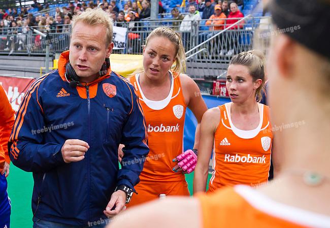 23/06/2015<br /> HWL Semi Final Antwerp Belgium 2015<br /> Japan v Netherlands Women<br /> Netherlands coach Sjoerd Marijne <br /> Photo: Grant Treeby