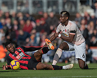 Manchester United's Paul Pogba (right) tackle brings down Bournemouth's Jefferson Lerma (left) <br /> <br /> Photographer David Horton/CameraSport<br /> <br /> The Premier League - Bournemouth v Manchester United - Saturday 3rd November 2018 - Vitality Stadium - Bournemouth<br /> <br /> World Copyright &copy; 2018 CameraSport. All rights reserved. 43 Linden Ave. Countesthorpe. Leicester. England. LE8 5PG - Tel: +44 (0) 116 277 4147 - admin@camerasport.com - www.camerasport.com