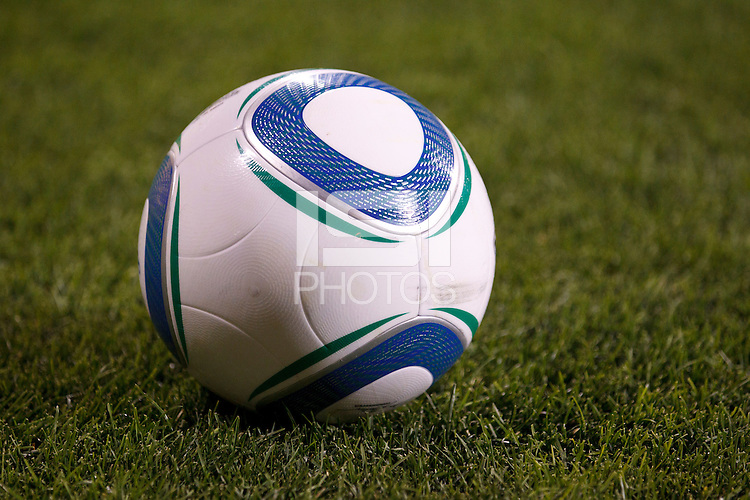3 JULY 2010:  A soccer ball on the pitch during MLS soccer game between Chicago Fire vs Columbus Crew at Crew Stadium in Columbus, Ohio on July 3, 2010.