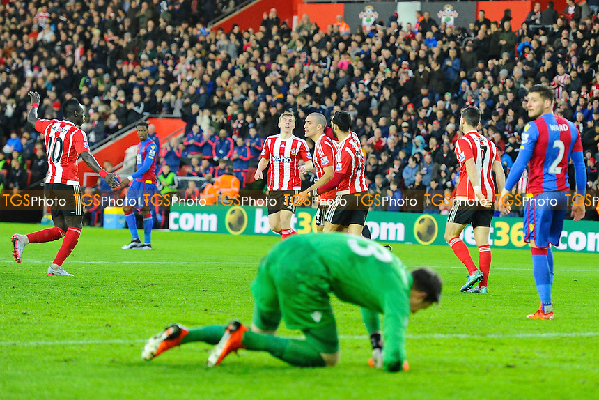 Oriel Romeu of Southampton middle is congratulated after scoring the equaliser as Crystal Palace keeper Wayne Hennessey of Crystal Palace looks devastated  during Southampton vs Crystal Palace at St Mary's Stadium