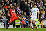 Achraf Hakimi of Real Madrid (R) in action against Lionel Carole of Sevilla FC (L) during La Liga 2017-18 match between Real Madrid and Sevilla FC at Santiago Bernabeu Stadium on 09 December 2017 in Madrid, Spain. Photo by Diego Souto / Power Sport Images
