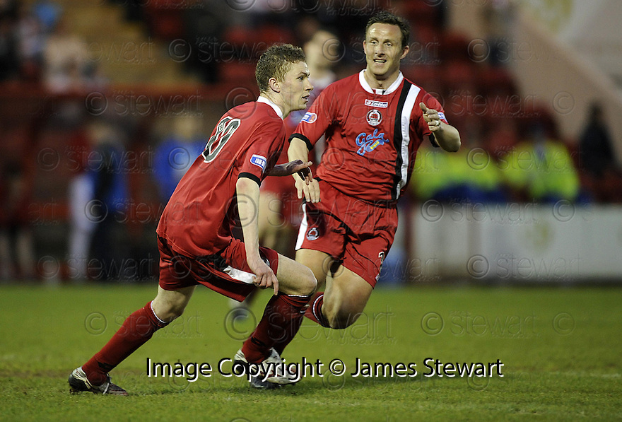 07/05/2008   Copyright Pic: James Stewart.File Name : sct_jspa06_airdrie_v_clyde.PAT CLARKE CELEBRATES WITH GARY MCSWEGAN AFTER HE SCORES CLYDE'S GOAL.James Stewart Photo Agency 19 Carronlea Drive, Falkirk. FK2 8DN      Vat Reg No. 607 6932 25.Studio      : +44 (0)1324 611191 .Mobile      : +44 (0)7721 416997.E-mail  :  jim@jspa.co.uk.If you require further information then contact Jim Stewart on any of the numbers above........
