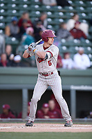 Center fielder TJ Hopkins (5) of the South Carolina Gamecocks bats in a game against the Furman Paladins on Tuesday, March 19, 2019, at Fluor Field at the West End in Greenville, South Carolina. South Carolina won, 12-7. (Tom Priddy/Four Seam Images)
