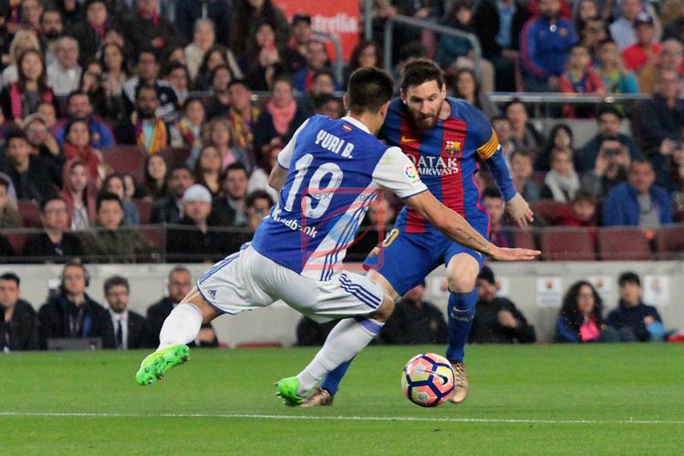 League Santander 2016/2017. Game: 32.<br /> FC Barcelona vs Real Sociedad: 3-2.<br /> Yuri vs Lionel Messi.
