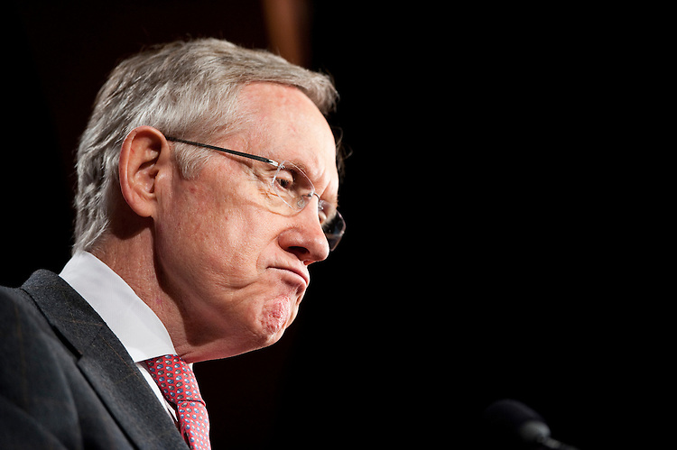 UNITED STATES - JUNE 22: Senate Majority Leader Harry Reid, D-Nev., speaks during the Senate Democrats' news conference on jobs on Wednesday, June 22, 2011. (Photo By Bill Clark/Roll Call)
