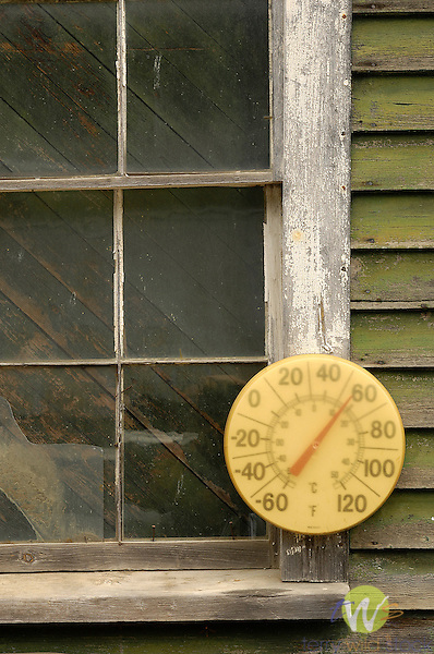 Old temperature dial at Maynards Lodge, Rockwood, ME