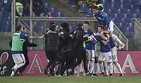 Calcio, Serie A: AS Roma - Sampdoria, Roma, stadio Olimpico, 28 gennaio 2018. i<br /> Sampdoria's Duv&agrave;n Zapata celebrates after scoring with his teammates during the Italian Serie A football match between AS Roma and Sampdoria at Rome's Olympic stadium, January 28, 2018.<br /> UPDATE IMAGES PRESS/Isabella Bonotto
