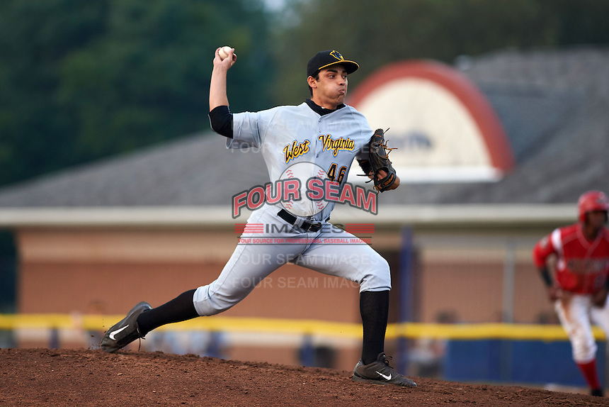 West Virginia Black Bears pitcher Juan Paula (46) delivers a pitch during a game against the Batavia Muckdogs on August 31, 2015 at Dwyer Stadium in Batavia, New York.  Batavia defeated West Virginia 5-4.  (Mike Janes/Four Seam Images)
