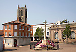 Historic buildings in the market town of Fakenham, north Norfolk, England