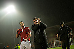 © Joel Goodman - 07973 332324 . 14/11/2015 . Manchester , UK . Manager KARL MARGINSON applauds fans as he leaves the pitch , post match . FC United host Gainsborough Trinity in the National League North at Broadhurst Park . NB requested changing room access three times and was denied three times . Photo credit : Joel Goodman