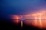 A summer electrical storm rages over the Apalachee Bay between Alligator Point and Shell Point in the Florida Panhandle.