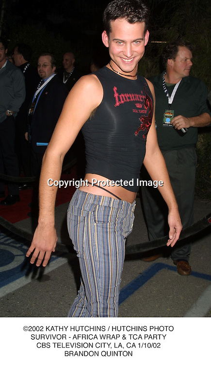 ©2002 KATHY HUTCHINS / HUTCHINS PHOTO.SURVIVOR - AFRICA WRAP & TCA PARTY.CBS TELEVISION CITY, LA, CA 1/10/02.BRANDON QUINTON