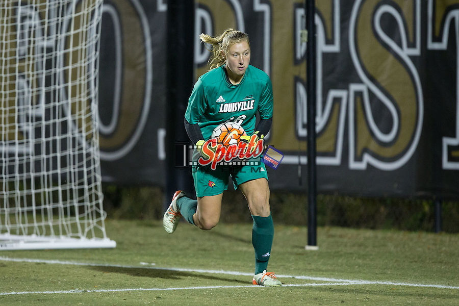 Taylor Bucklin (18) of the Louisville Cardinals catches the ball during first half action against the Wake Forest Demon Deacons at Spry Soccer Stadium on October 31, 2015 in Winston-Salem, North Carolina.  The Demon Deacons defeated the Cardinals 2-1.  (Brian Westerholt/Sports On Film)