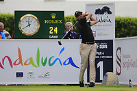 Jason Norris (AUS) tees off the 1st tee during Sunday's storm delayed Final Round 3 of the Andalucia Valderrama Masters 2018 hosted by the Sergio Foundation, held at Real Golf de Valderrama, Sotogrande, San Roque, Spain. 21st October 2018.<br /> Picture: Eoin Clarke | Golffile<br /> <br /> <br /> All photos usage must carry mandatory copyright credit (&copy; Golffile | Eoin Clarke)