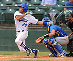 SIOUX FALLS, SD - MAY 23:  Malcolm White #24 from IPFW watches the ball after a hit against South Dakota State in the third inning of their game Friday at the Summit League Baseball Championship at the Sioux Falls Stadium. (Photo by Dave Eggen/Inertia)
