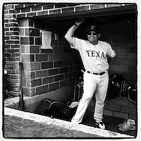 COOPERSTOWN, NY - MAY 24:  Instagram of Ivan Pudge Rodriguez in the dugout during the home run derby before the Hall of Fame Classic game at Doubleday Field on May 24, 2014 in Cooperstown, New York. Photo by Brad Mangin