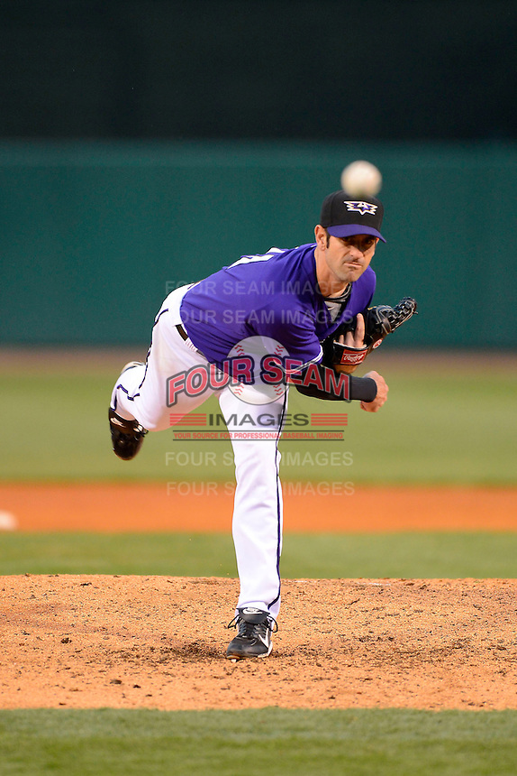 Louisville Bats pitcher Mark Prior #21 during a game against the Indianapolis Indians on April 19, 2013 at Louisville Slugger Field in Louisville, Kentucky.  Indianapolis defeated Louisville 4-1.  (Mike Janes/Four Seam Images)