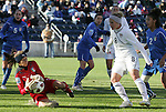 27 November 2010: Anna Maria Picarelli (ITA) (1) makes a save on Amy Rodriguez (USA) (8). The United States Women's National Team defeated the Italy Women's National Team 1-0 in the second leg of their 2011 FIFA Women's World Cup Qualifier playoff at Toyota Park in Bridgeview, Illinois. The U.S. won the series 2-0 on aggregate goals to advance.