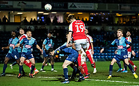 Fleetwood Town's Lewis Gibson (centre) heads at goal<br /> <br /> Photographer Andrew Kearns/CameraSport<br /> <br /> The EFL Sky Bet League One - Wycombe Wanderers v Fleetwood Town - Tuesday 11th February 2020 - Adams Park - Wycombe<br /> <br /> World Copyright © 2020 CameraSport. All rights reserved. 43 Linden Ave. Countesthorpe. Leicester. England. LE8 5PG - Tel: +44 (0) 116 277 4147 - admin@camerasport.com - www.camerasport.com