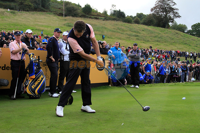 Lee Westwood tees off on the 18th tee during Practice Day 3 of the The 2010 Ryder Cup at the Celtic Manor, Newport, Wales, 29th September 2010..(Picture Eoin Clarke/www.golffile.ie)