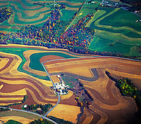 Aerial view of midwestern farmland, Ohio