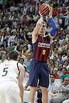 Real Madrid's Rudy Fernandez (l) and FC Barcelona's Mario Hezonja during Liga Endesa ACB 2nd Final Match.June 21,2015. (ALTERPHOTOS/Acero)