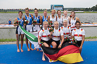 Rotterdam. Netherlands.  Back Row Right Bronze Medalist Rotterdam. Netherlands.  USA JW 4X. Bow.  Rose CARR, Molly MILLIGAN, Claire GRUNDIG and Jenna<br /> VAN DE GRIFT, <br /> 2016 JWRC,  {WRCH2016}  at the Willem-Alexander Baan.   Sunday  28/08/2016 <br /> <br /> [Mandatory Credit; Peter SPURRIER/Intersport Images]2016 JWRC, U23 and Non Olympic Regatta. {WRCH2016}  at the Willem-Alexander Baan.   Sunday  28/08/2016 <br /> <br /> [Mandatory Credit; Peter SPURRIER/Intersport Images]