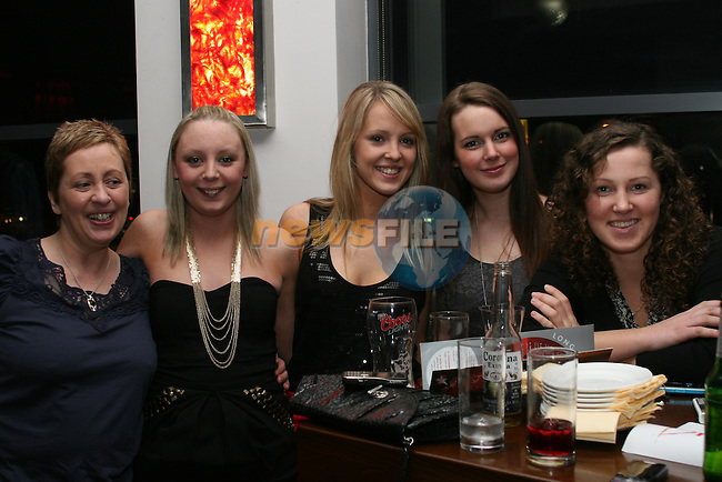 Nuala Mongey, Grace Collier, Leah Kearns, Delecia Brown and Marta Ratayczak enjoying their Christmas Party in Bru...Photo NEWSFILE/Jenny Matthews.(Photo credit should read Jenny Matthews/NEWSFILE)....This Picture has been sent you under the condtions enclosed by:.Newsfile Ltd..The Studio,.Millmount Abbey,.Drogheda,.Co Meath..Ireland..Tel: +353(0)41-9871240.Fax: +353(0)41-9871260.GSM: +353(0)86-2500958.email: pictures@newsfile.ie.www.newsfile.ie.FTP: 193.120.102.198.